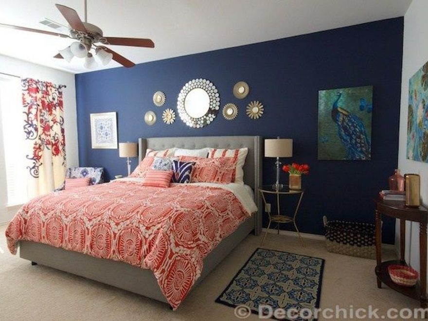 Beautiful Navy Blue And Coral Bedroom Decor40