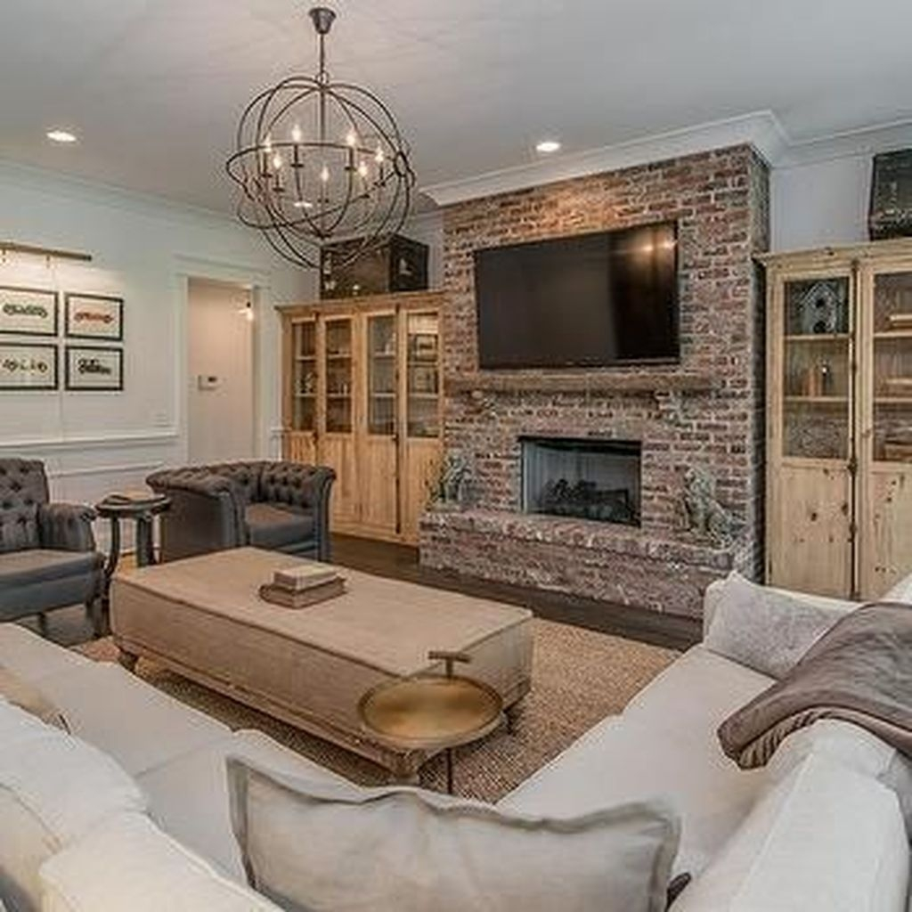 30+ Modern Brick Fireplace Decorations Ideas For Living ...
